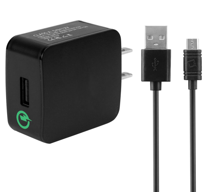 Qualcom Cert Quick Charge 3.0 Wall Charger Black
