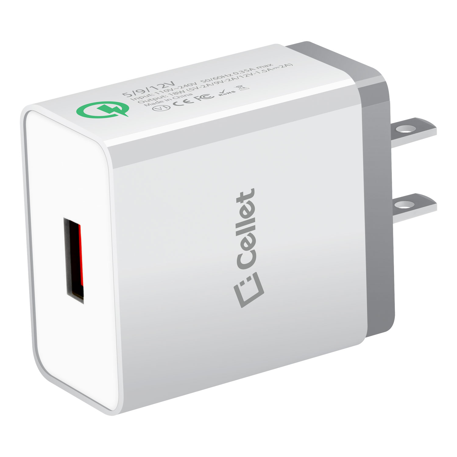 ZTE Axon M USB Type-C 4x Quick Home Charger White 3.3ft Round