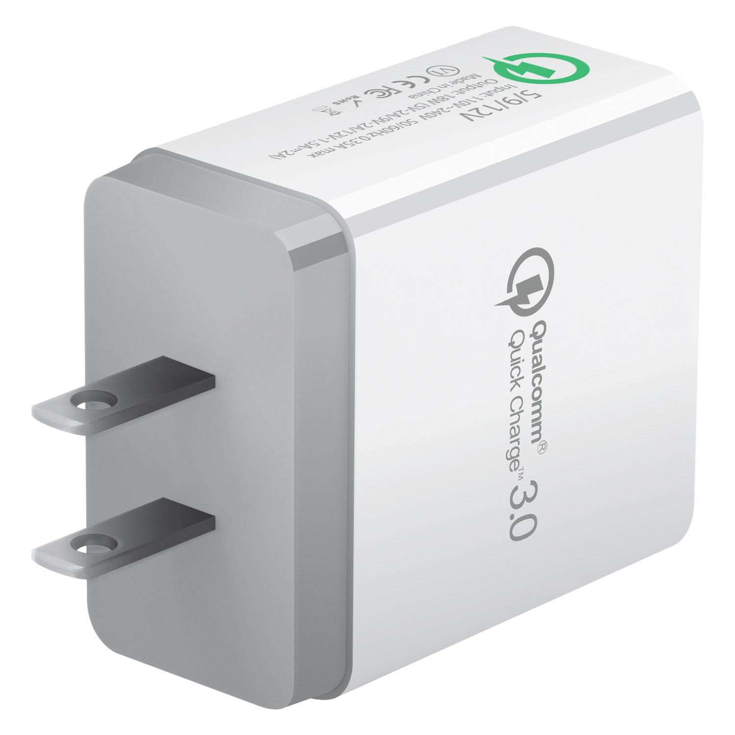 ZTE Blade Spark USB Type-C 4x Quick Home Charger White 3.3ft Round
