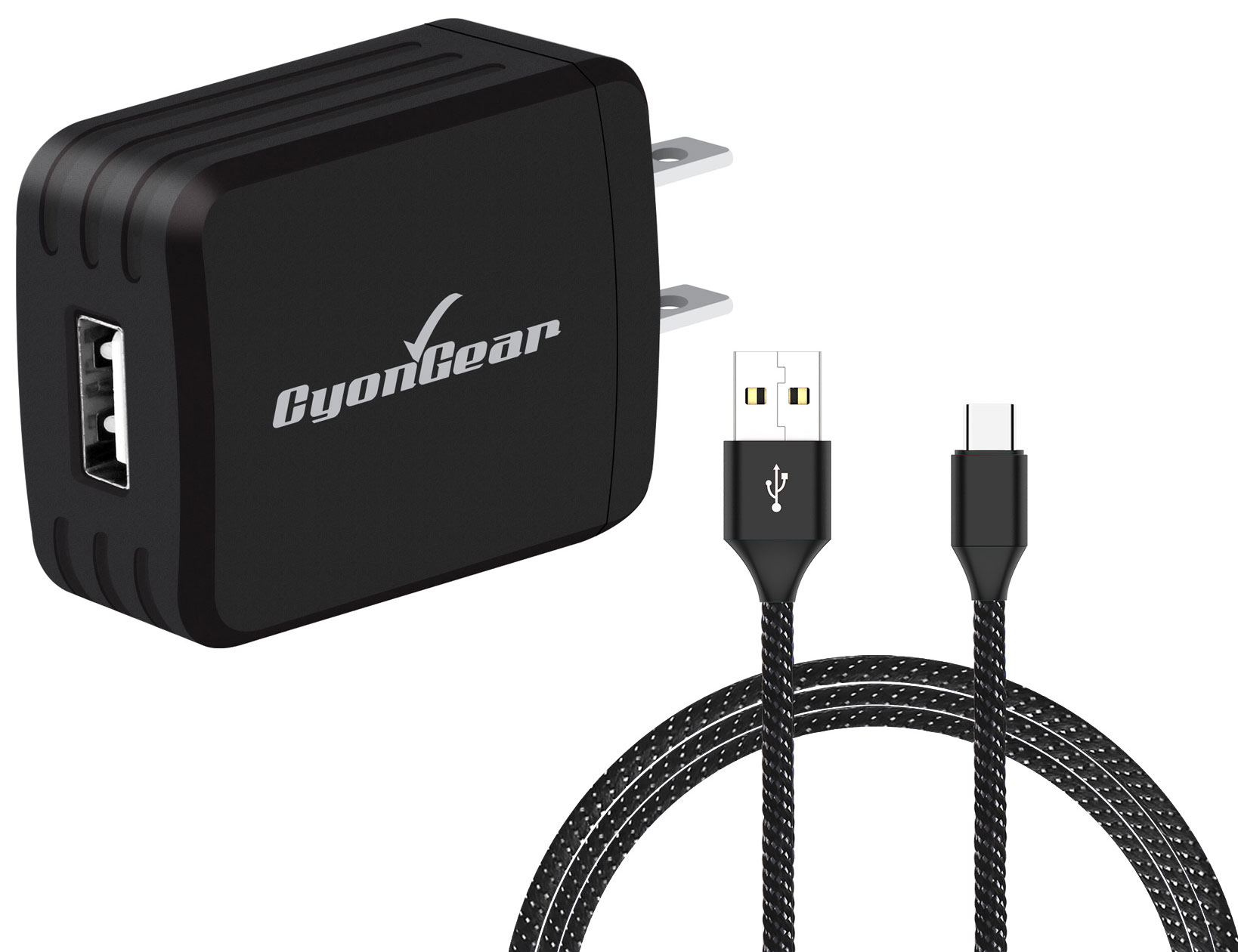 Cricket Icon Micro-USB Wall Charger Black 10ft Black Braided Cable