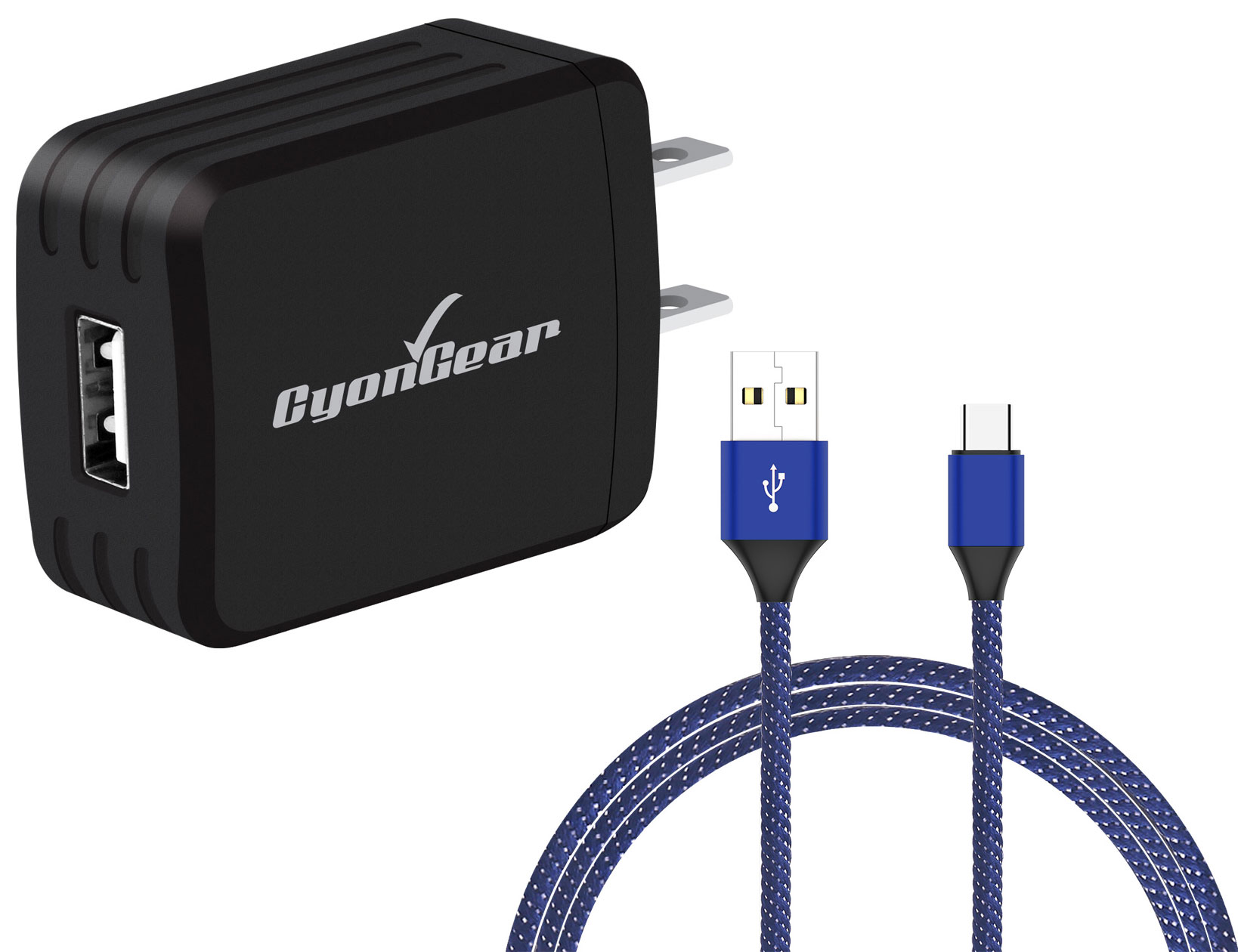 Motorola Edge Plus USB TypeC Wall Charger Black 6ft Blue Braided Cable