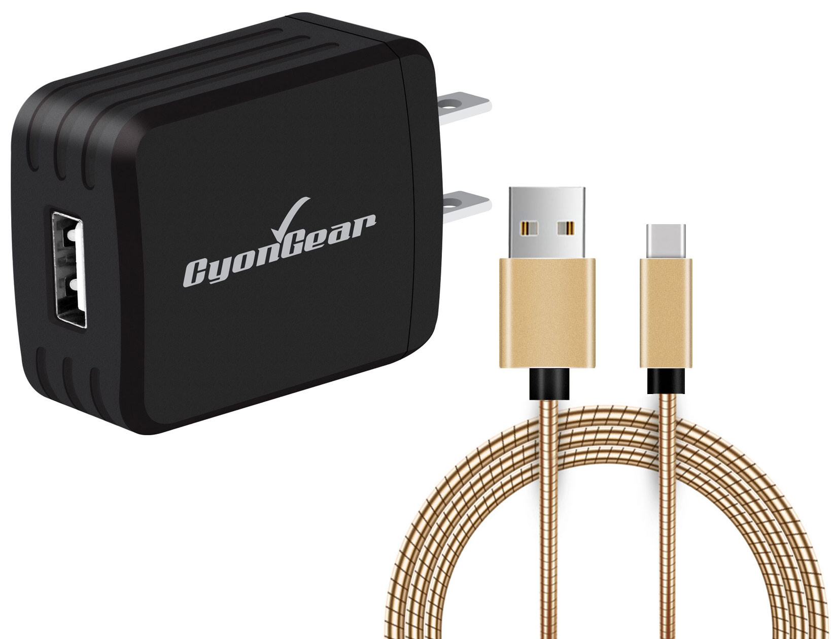 Motorola Edge Plus USB TypeC Wall Charger Black 10ft Gold Braided Cable