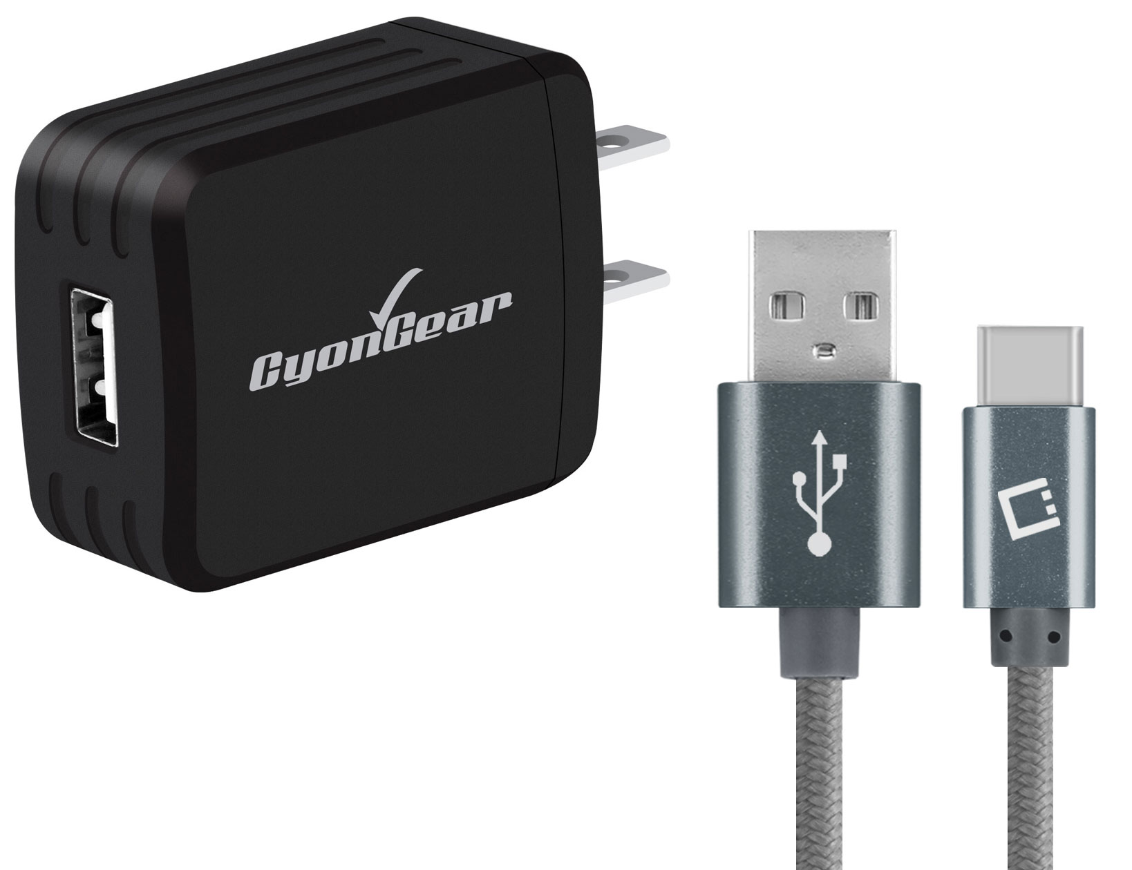 BLU Studio Selfie LTE Micro-USB Wall Charger Black 6ft Grey Braided Cable