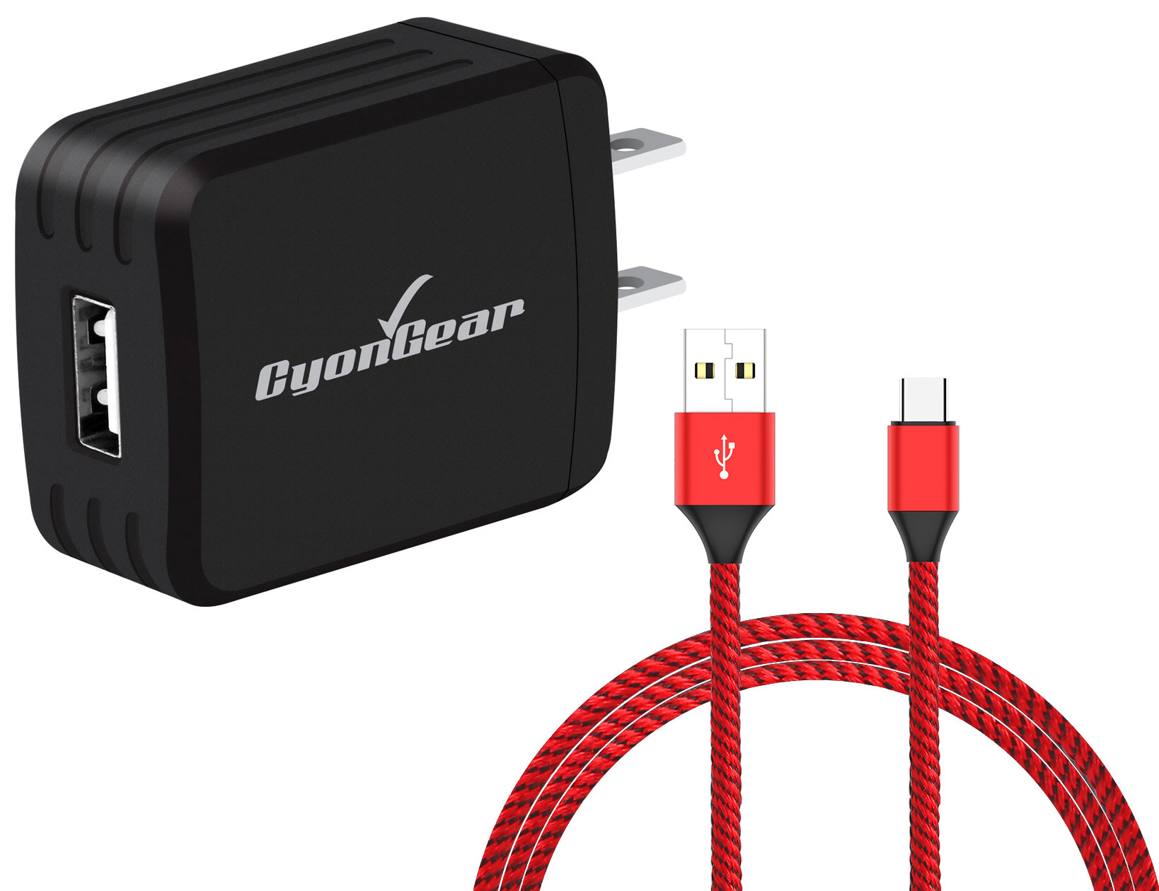 Samsung Galaxy A20 USB TypeC Wall Charger Black 10ft Red Braided Cable