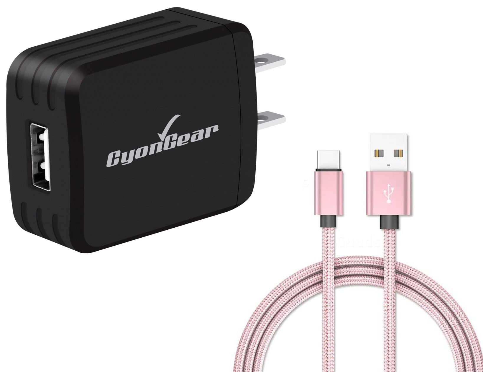 Cricket Icon Micro-USB Wall Charger Black 4ft Rose Gold Braided Cable