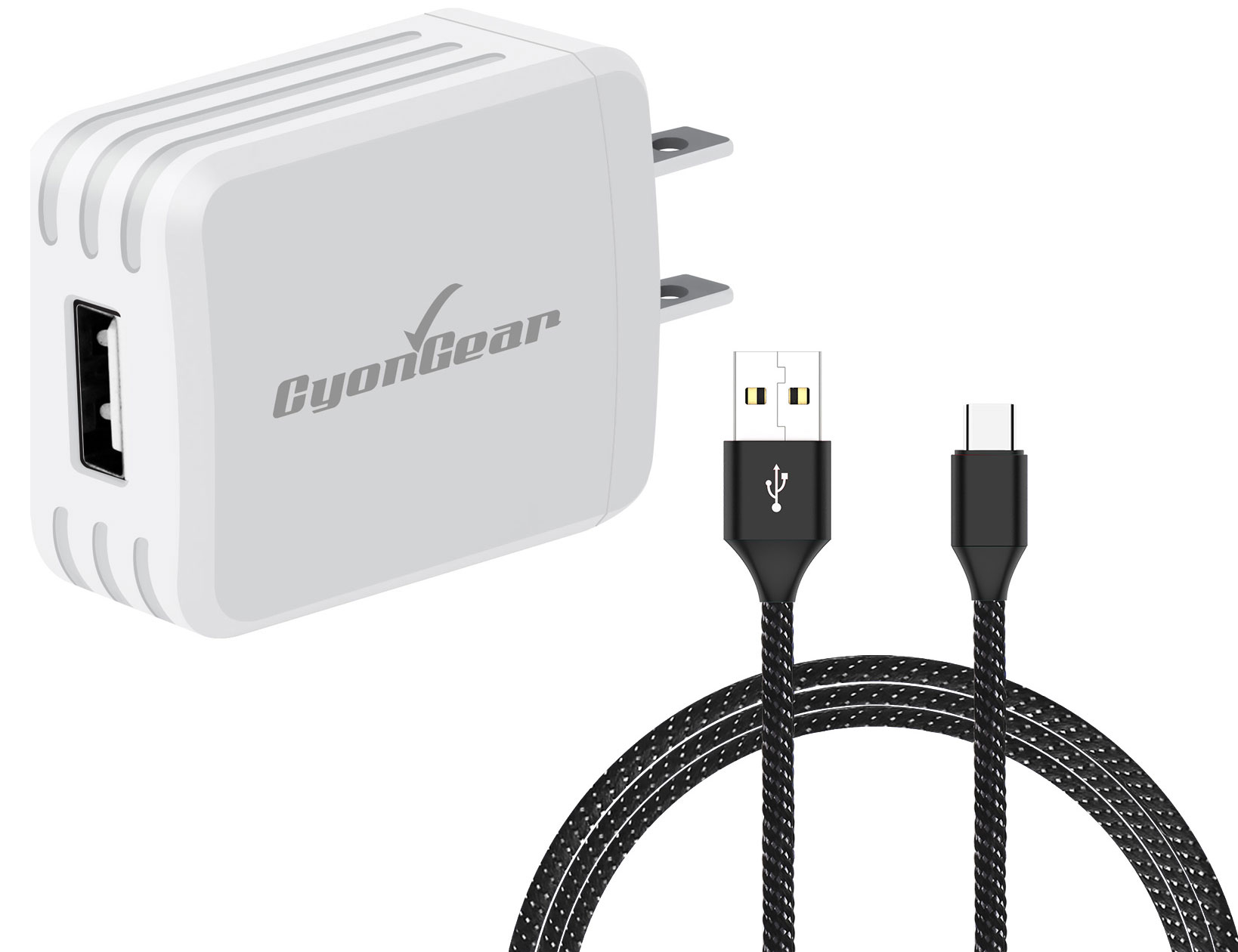 Sonim XP3 USB TypeC Wall Charger White 4ft Black Braided Cable