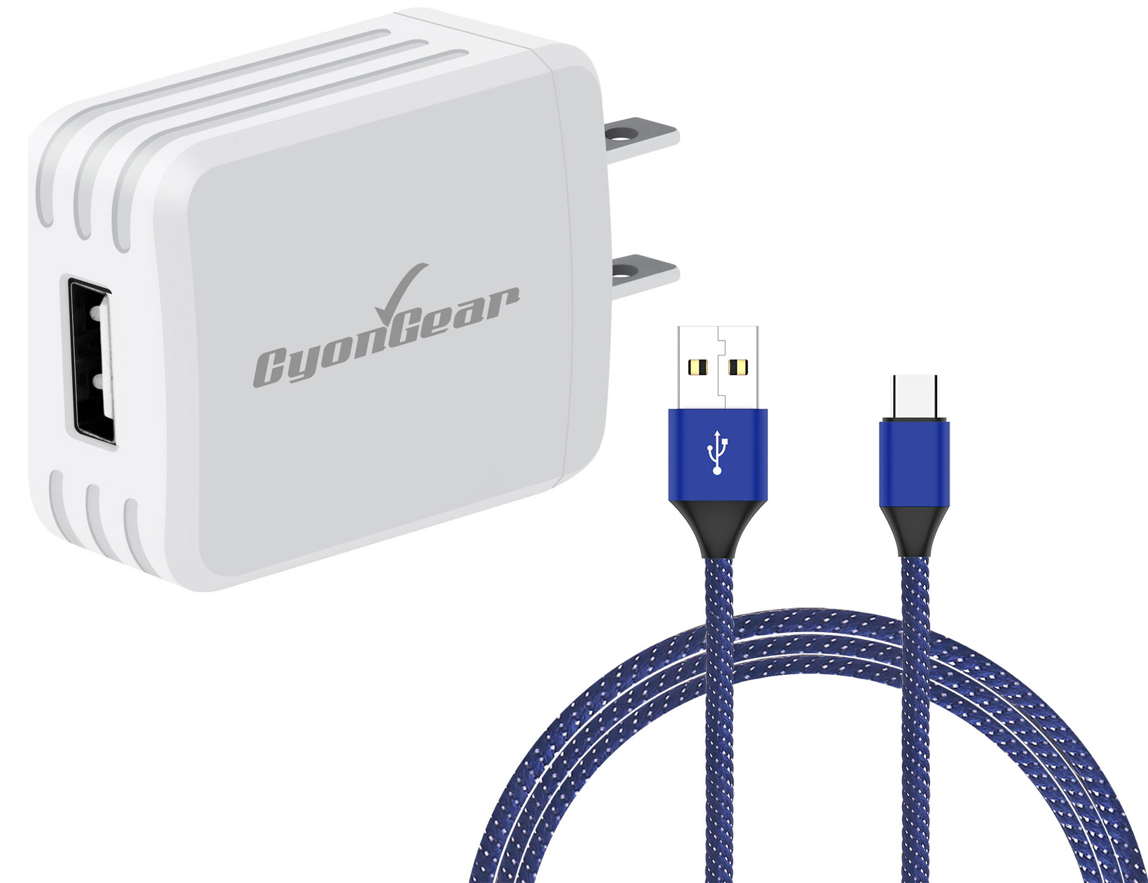 Samsung Galaxy S20 USB TypeC Wall Charger White 10ft Blue Braided Cable