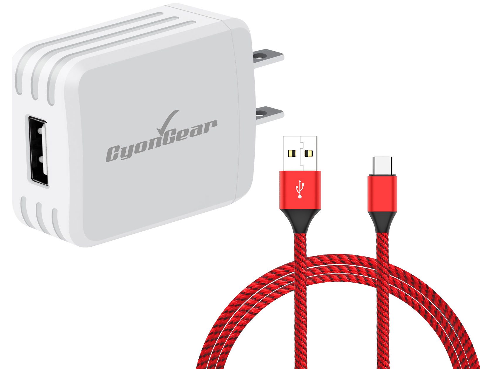 ZTE Blade Spark USB TypeC Wall Charger White 4ft Red Braided Cable