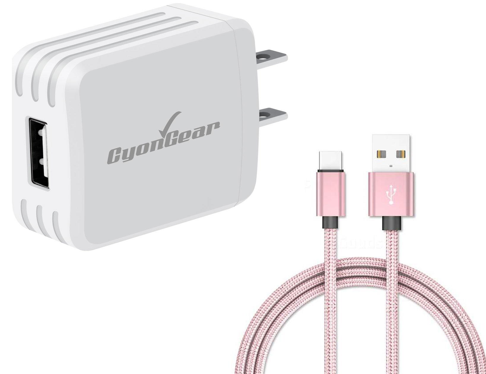 Samsung Galaxy S9 Plus USB TypeC Wall Charger White 4ft Rose Gold Braided Cable