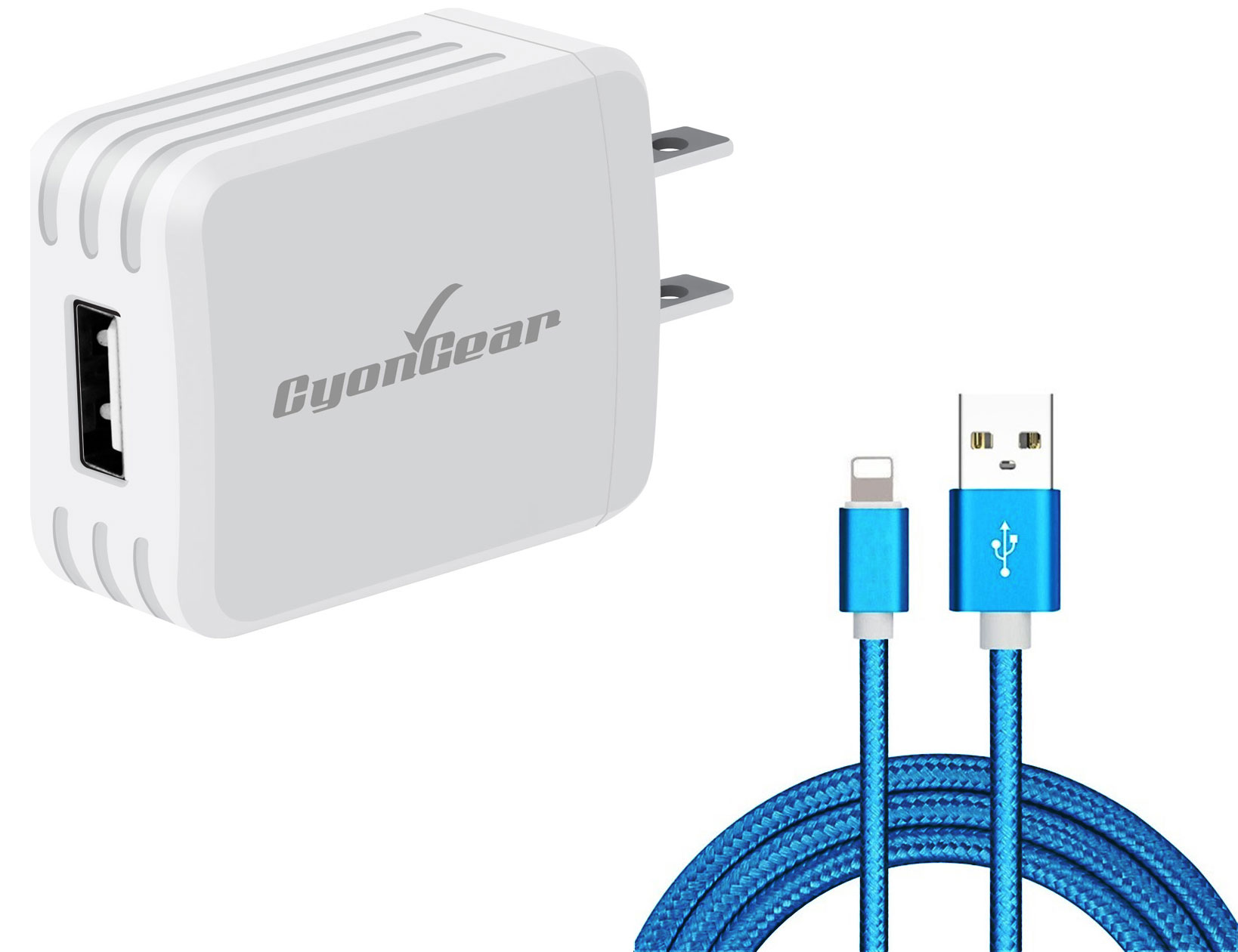 Apple iPad 7th Gen Lightning Wall Charger White 6ft Blue Braided Cable