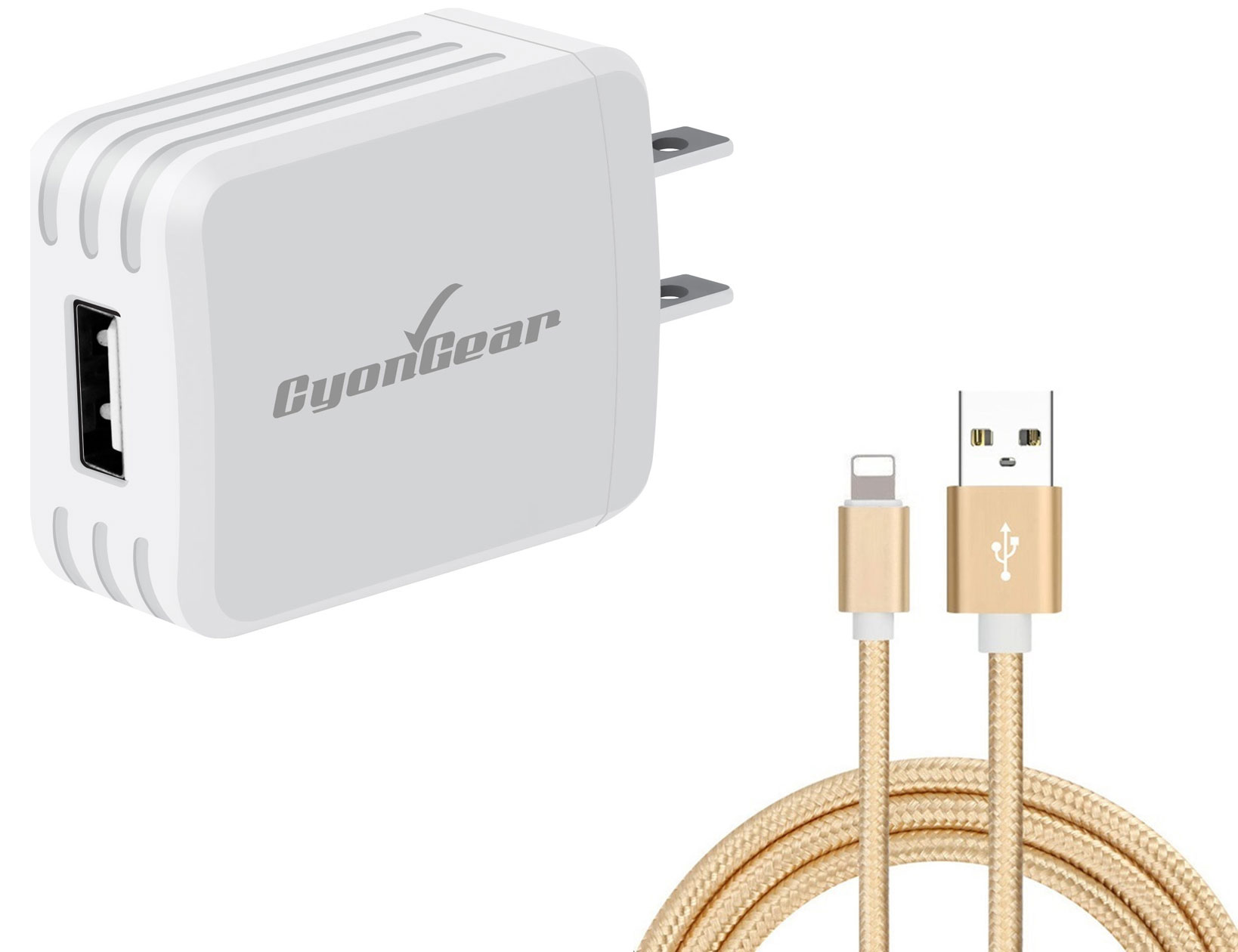 Apple iPad Air 3rd Gen Lightning Wall Charger White 4ft Gold Braided Cable