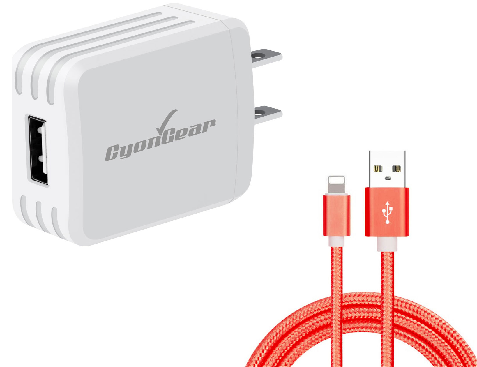 Apple iPad Mini 5th Gen Lightning Wall Charger White 6ft Red Braided Cable