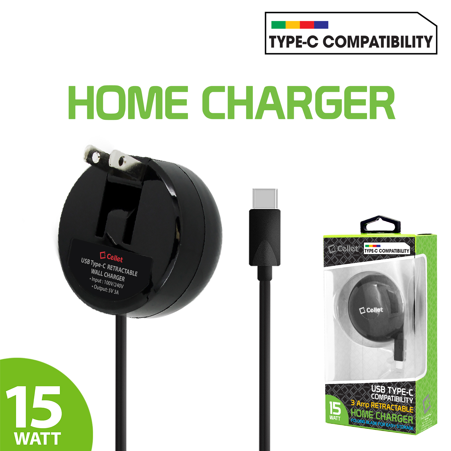 Samsung Galaxy S20 Plus USB Type-C Retractable Home AC Charger Black