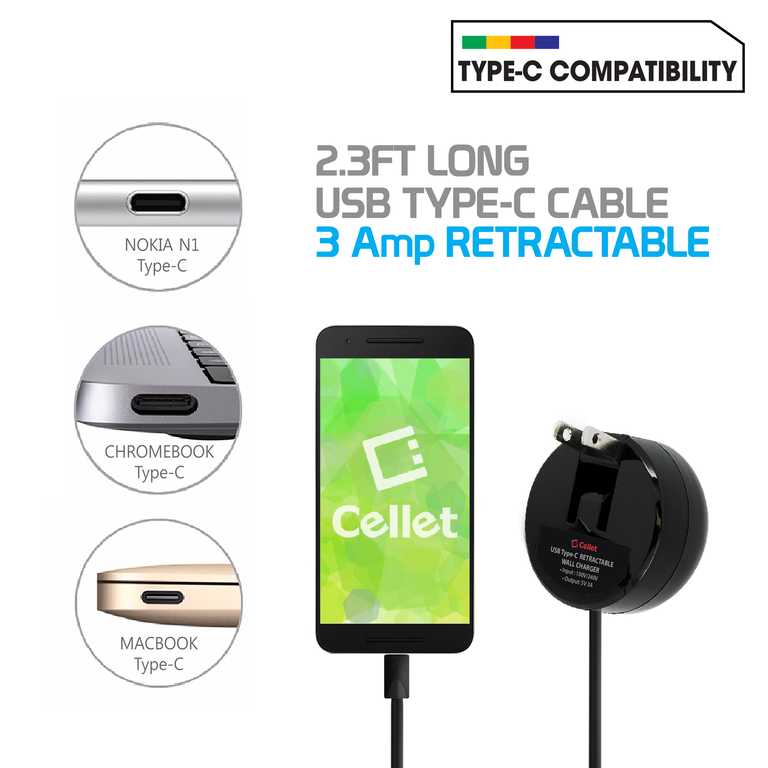 Motorola Edge Plus USB Type-C Retractable Home AC Charger Black
