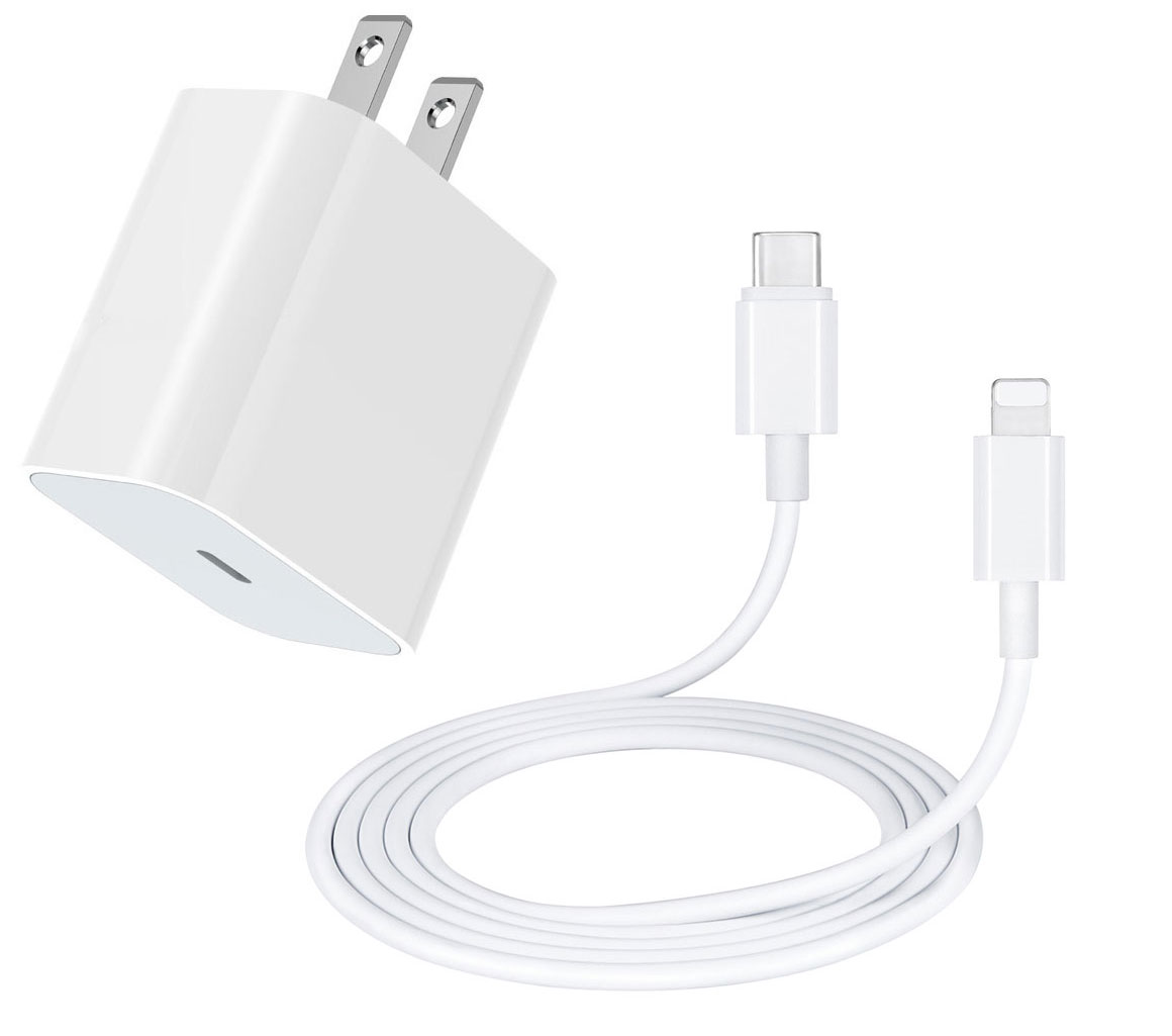 Apple iPhone 12 Pro Max 18w Power Delivery PD Fast Lightning Wall Charger White 10ft Cable