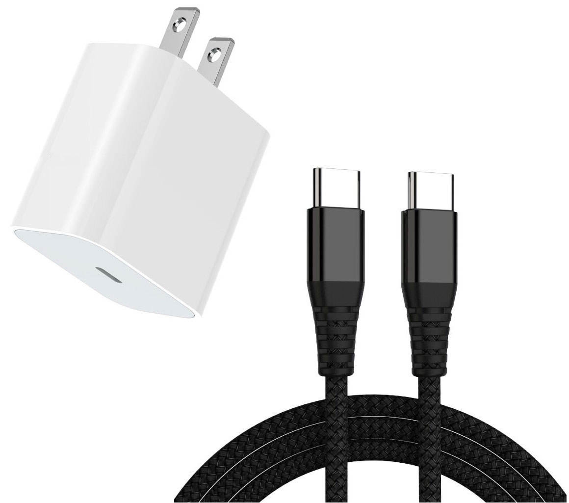 Samsung Galaxy S20 18w Fast AC Home Charger PD White 4ft Black Braided Cable