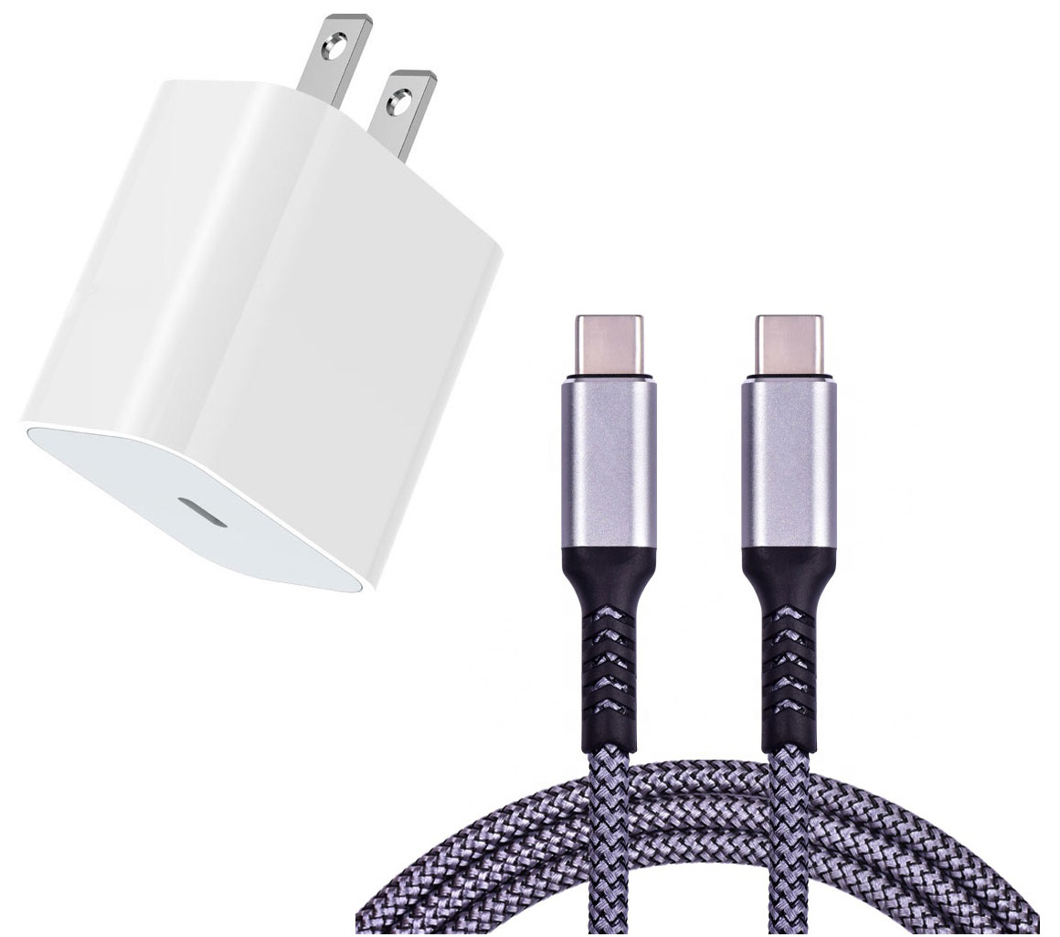 Samsung Galaxy A51 LTE 18w Fast AC Home Charger PD White 4ft Grey Braided Cable