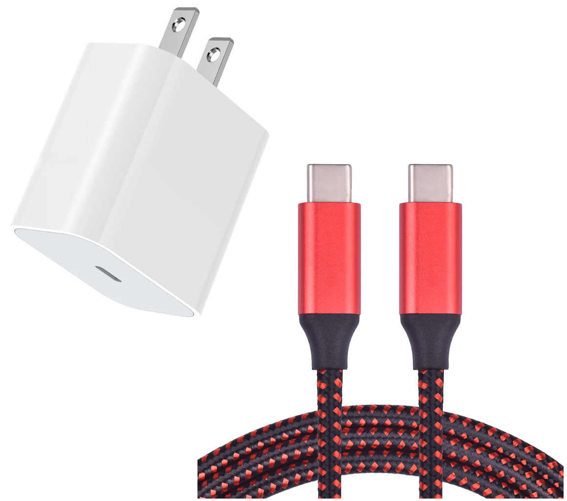 Samsung Galaxy S20 18w Fast AC Home Charger PD White 4ft Red Braided Cable