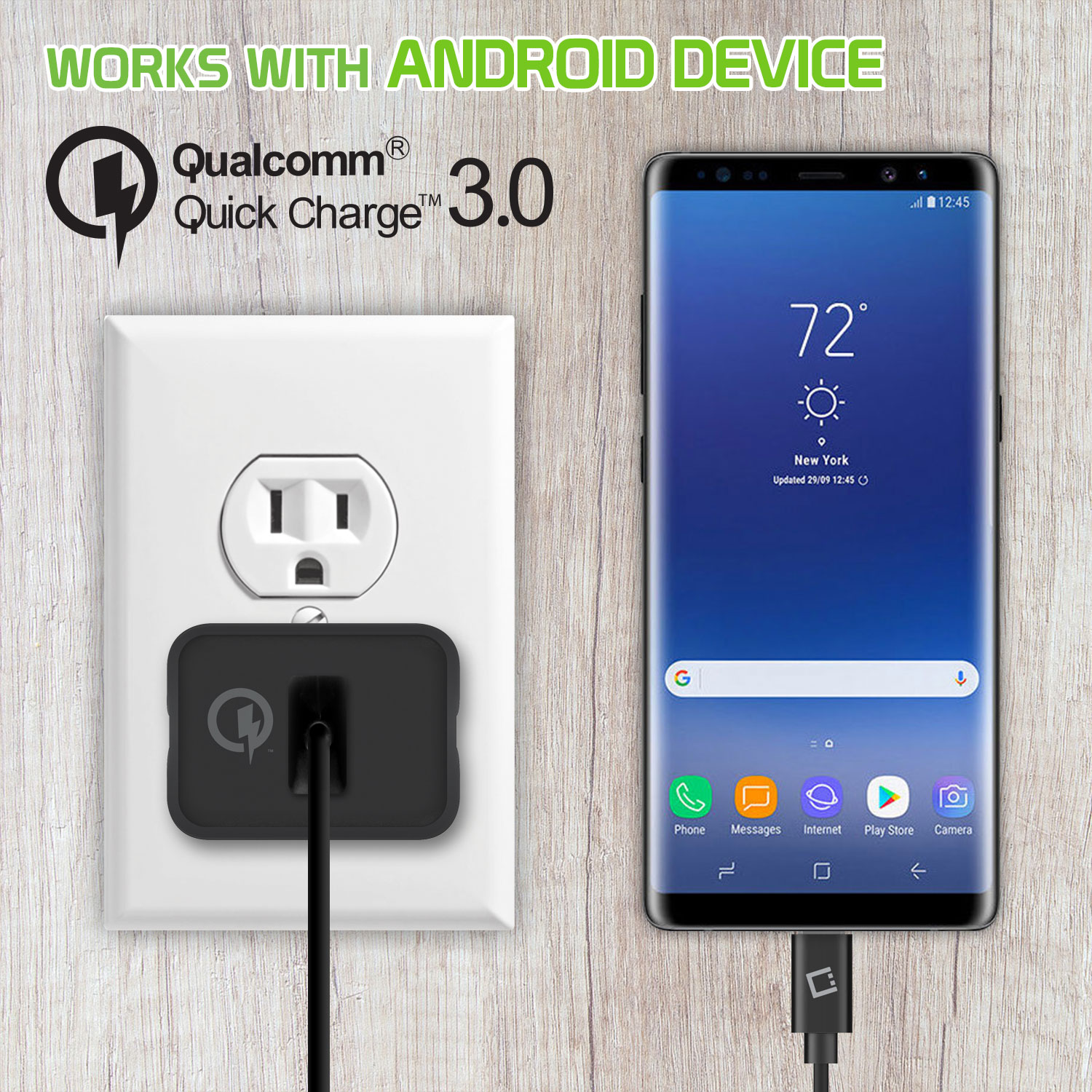 LG Stylo 4 USB Type-C 4x Quick Home Charger Black