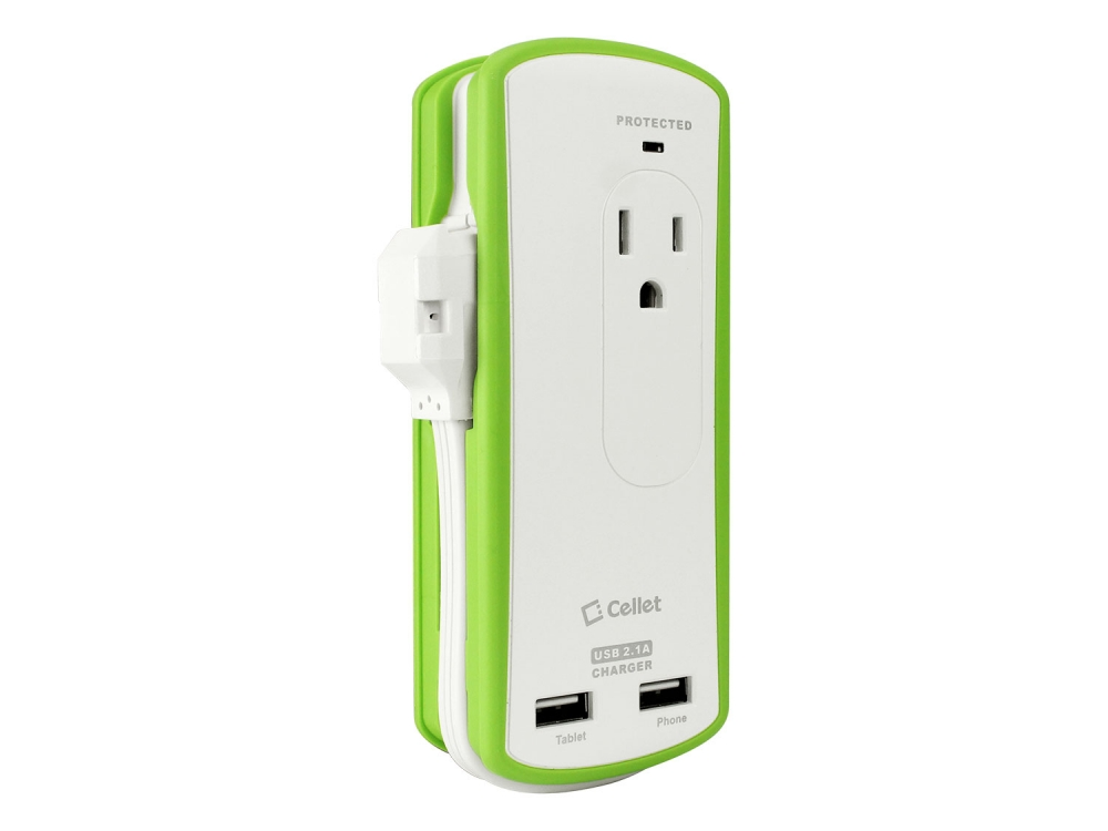 AC Charger Surge Protection Dual USB White Micro-USB