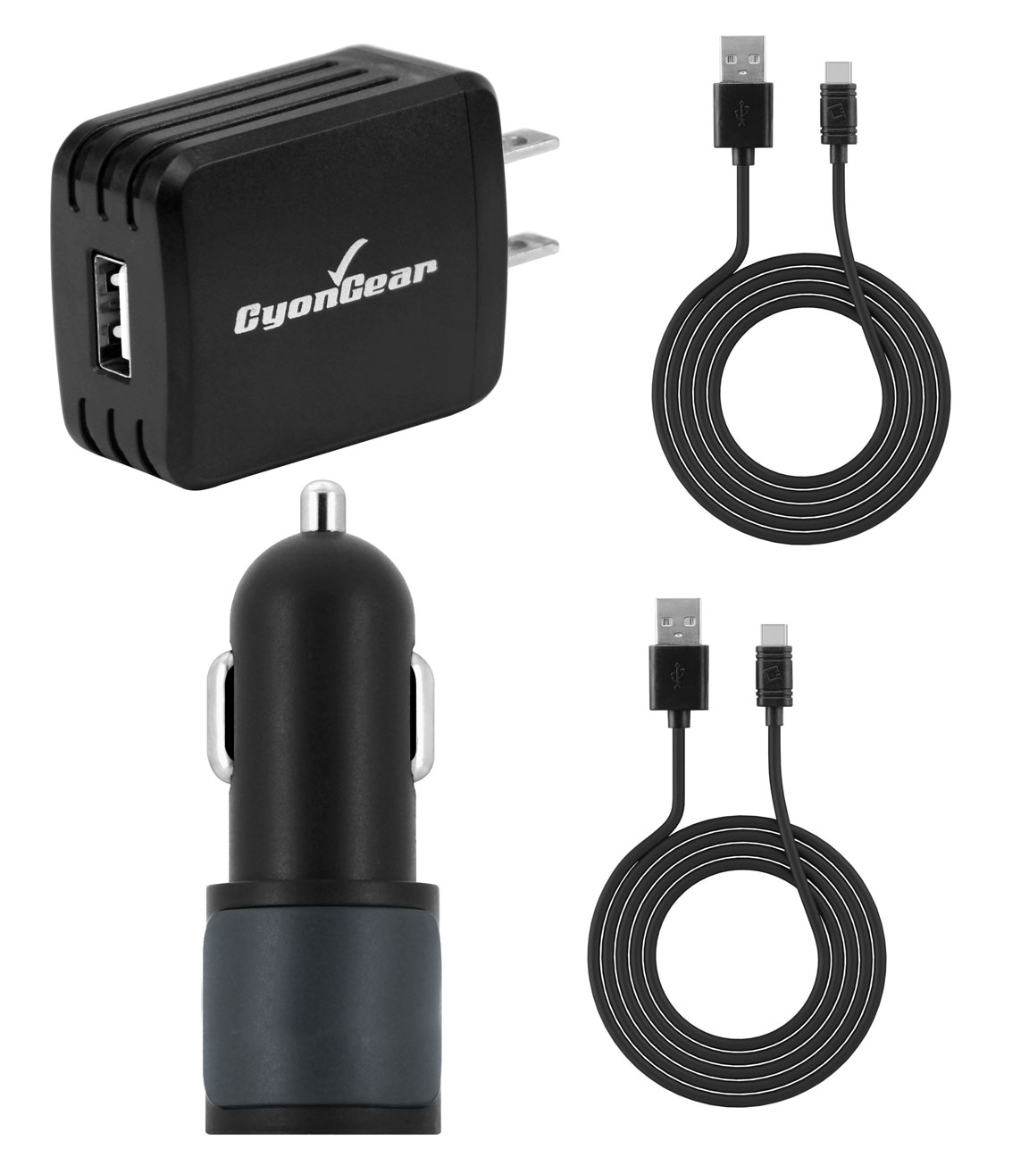 USB Type-C Car Home Charger Bundle Data Cables Black