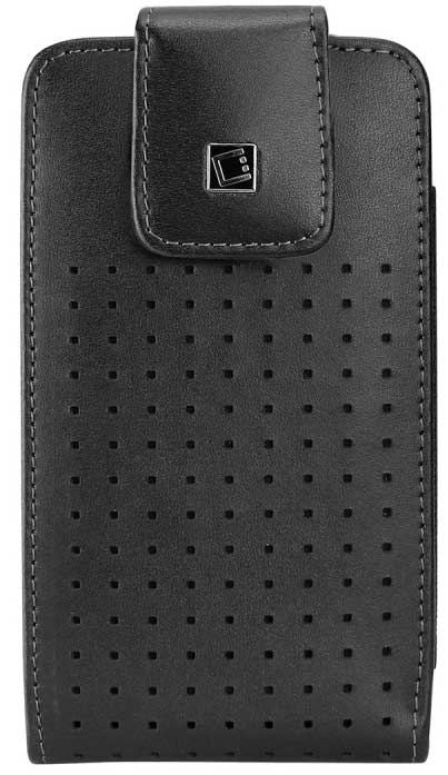 Vertical Leather Case Swivel+Spring Clips For Samsung Droid Charge Cellet Teramo Black